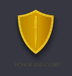 Dagger on shield gold emblem military combat vector