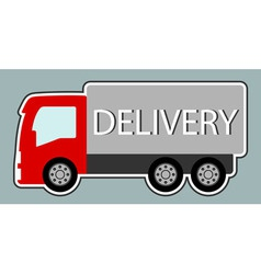 Delivery truck with red cabin vector