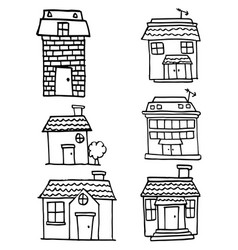 doodle of house set various vector image