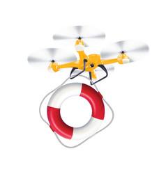 Drone lifebuoy delivery realistic creative 3d vector