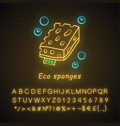 Eco sponges neon light icon vector