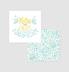 Enjoy yoga ayurvedic harmony studio card flyer vector