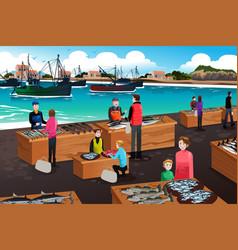fish market scene vector image