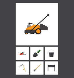 Flat icon dacha set of lawn mower trowel pail vector