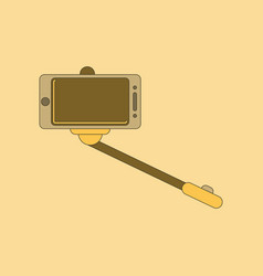 Flat icon on background smartphone selfie stick vector
