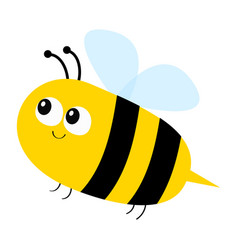 Flying bee icon big eyes cute cartoon funny baby vector