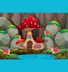 Forest scene with mushroom house by the pond vector