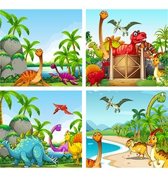 Four scenes of dinosaurs in the park vector