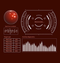 futuristic user interface hud tech elements for vector image