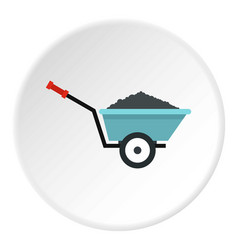 Garden wheelbarrow icon circle vector