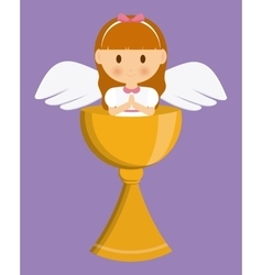 Girl angel cartoon cup icon graphic vector