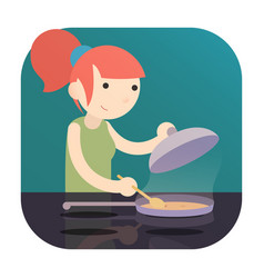 Girl cooking food on induction cooktop with pan a vector