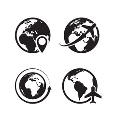 Globe icons set world earth and globe map pin vector