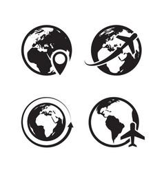 globe icons set world earth and map pin vector image