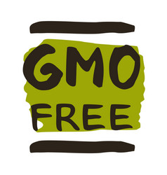 Gmo free hand drawn isolated label vector