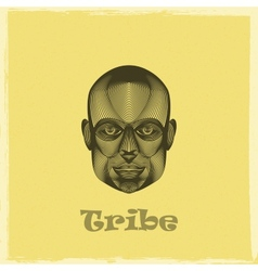 Graphic evgraved a black african tribe man face vector