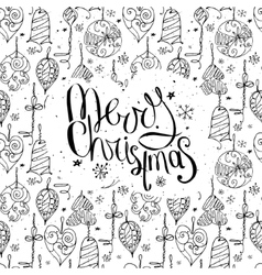 Greeting card with phrase Merry Christmas and vector image