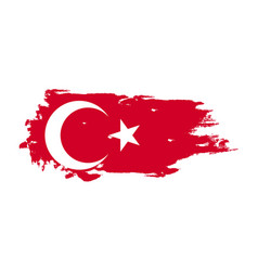 grunge brush stroke with turkey national flag vector image