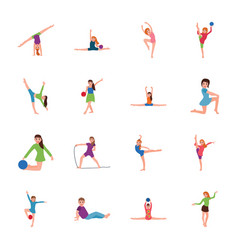 Gymnastic poses flat icons pack vector