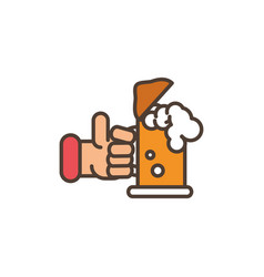 hand with beer oktoberfest icon line filled vector image