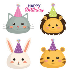Happy birthday card with set cute animals vector