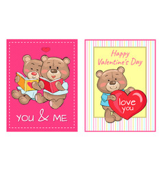 happy valentines day you and me posters set teddy vector image