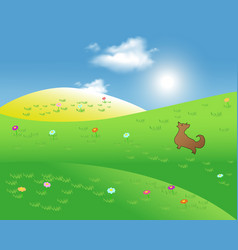 Idyllic mountains with sunshine rays and blue sky vector