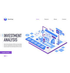 investment analysis landing page template vector image