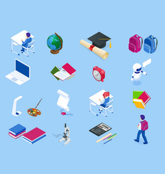 isometric education icons back to school set vector image