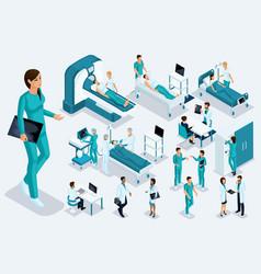 Isometrics medicine female nurse large figure vector