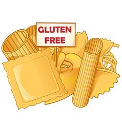 Italian pasta with gluten free signboard vector