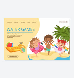 kids water games landing page template vector image