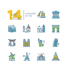 Landmarks - colored modern single line icons set vector