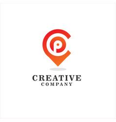 letter p pin point logo design element vector image