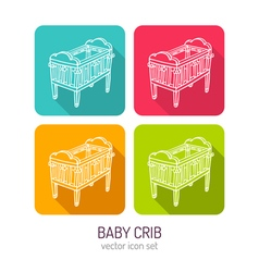 line art baby crib icon set in four color vector image