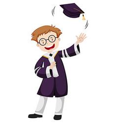 Man in purple graduation gown vector