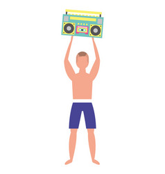Man in swimsuit holding stereo radio vector