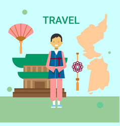 man in traditional korean clothes over korea map vector image