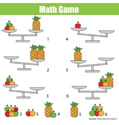 Mathematics educational game for children balance vector image