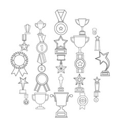 medal award icon set outline style vector image