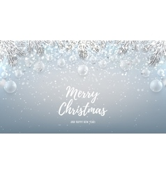 Merry Christmas web banner with glass toys vector