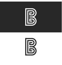 monogram letter b logo set black and white linear vector image