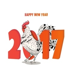 new year a rooster 2017 vector image