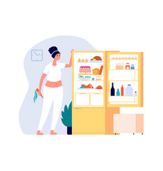 night eating woman standing open fridge with food vector image