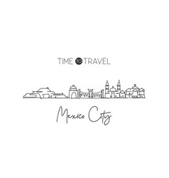 one single line drawing mexico city skyline vector image
