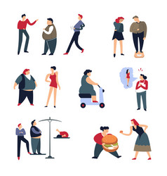 Overweight problem and fat men and women vector