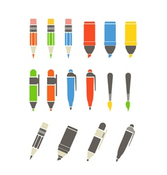 Paint and writing tools collection Flat design vector