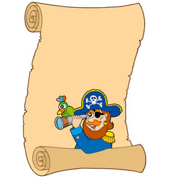 parchment with pirate and spyglass vector image