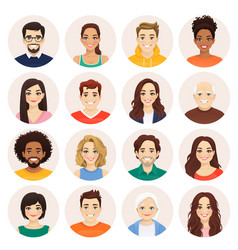 People avatar set men and women collection vector