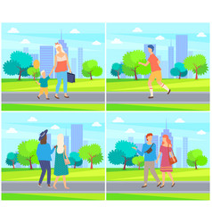 people spending time in park couples and family vector image